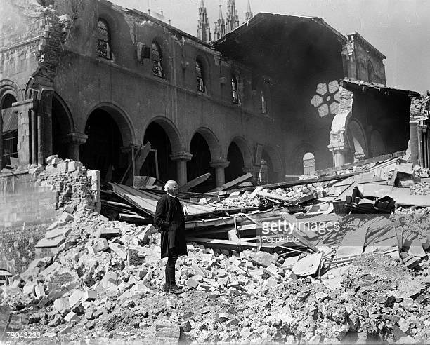 circa 1942 The picture shows destruction on a vast scale caused by German bombs at the historic Canterbury Cathedral in Kent