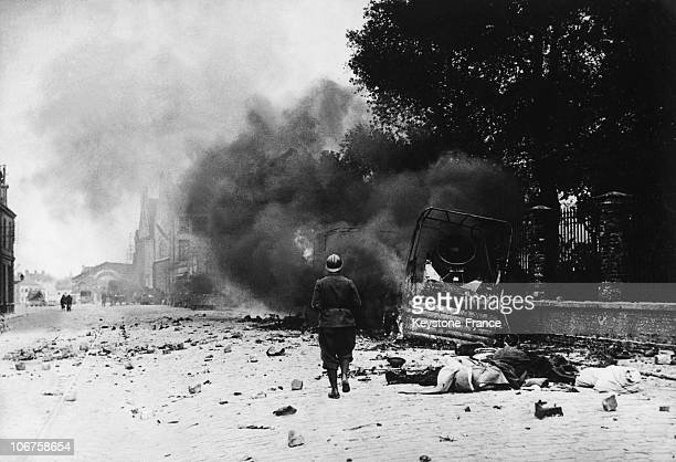 World War Ii Campaign Of France In June 1940 Dunkirk Destructions After A German Aerial Bombing