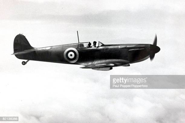 World War II Circa 1940's A picture of the famous British fighter the Supermarine Spitfire of the Royal Air Force in flight The British single seat...