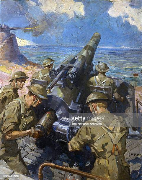 World War II coastal battery scene Artist Terence Cuneo