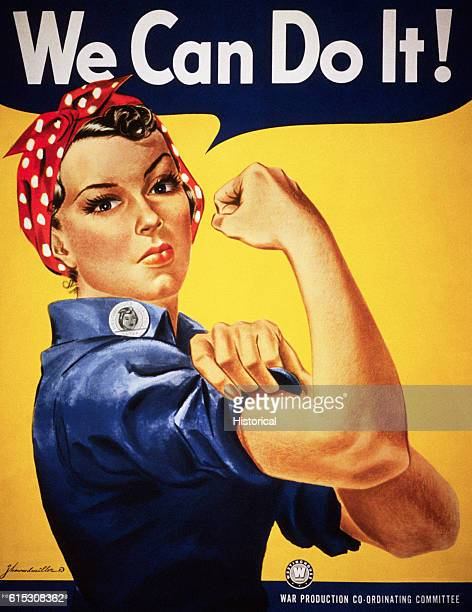 A World War II color poster depicting Rosie the Riveter encourages American women to show their strength and go to work for the war effort