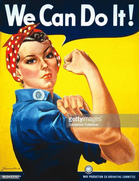 A World War II color poster depicting 'Rosie the Riveter' encourages American women to show their strength and go to work for the war effort by J...