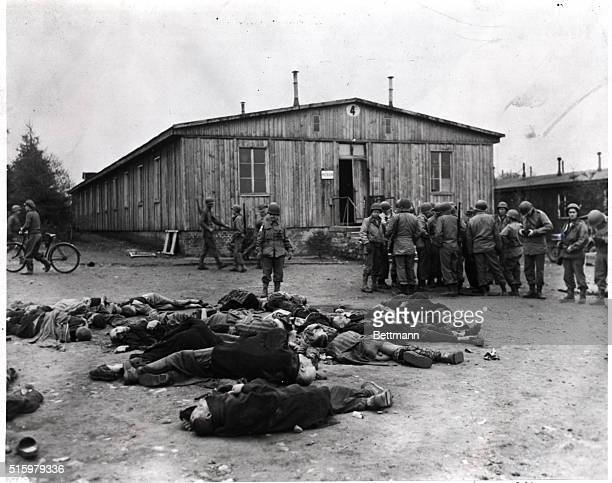 World War II concentration camp at Ohrduf freed by American soldiers Polish and Russian victims of atrocities seen in foreground Undated photograph