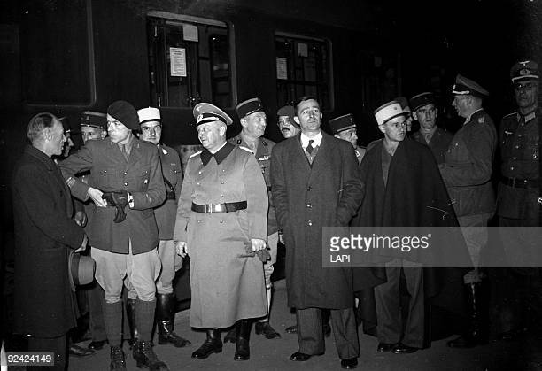 World War II Contingent of the Legion of French Volunteers against bolshevism leaving for the Eastern Front Paris October 1943