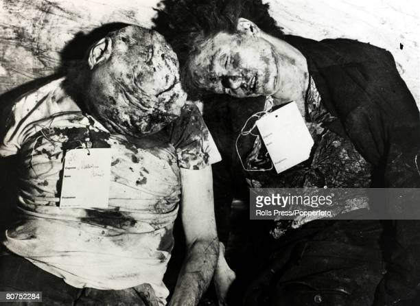 April 1945 The dead battered body of Italian Fascist leader Benito Mussolini alongside his mistress Clara Petacci