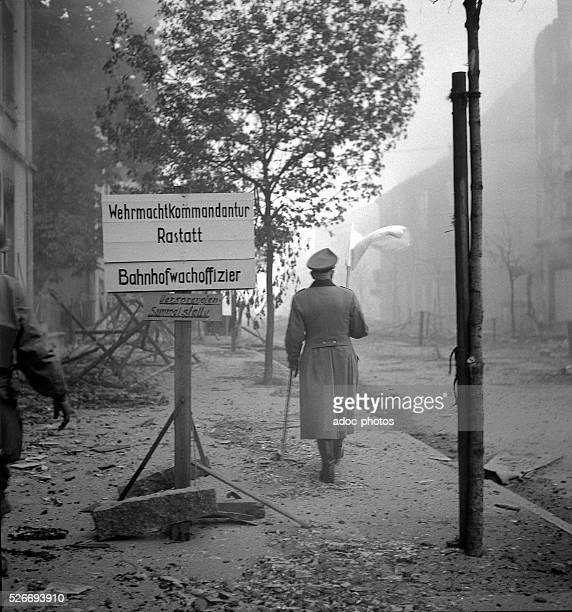 World War II During the advance of the First French Army in Germany German officer surrendering In 1945