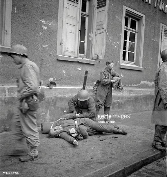 World War II During the advance of the First French Army in Germany French soldiers searching the body of a German soldier In 1945