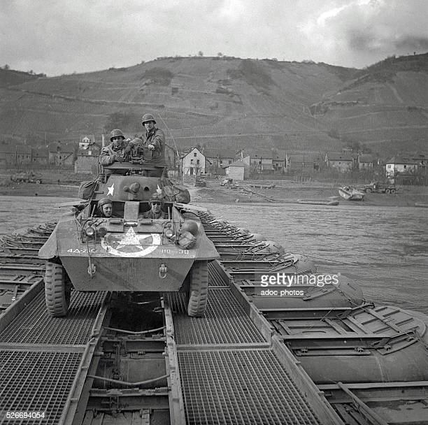World War II. During the advance of the Third United States Army in Germany. The crossing of the Rhine river. In 1945.