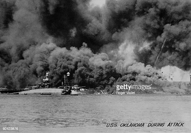 World War II Eastern front American battleship Oklahoma during the attack of Pearl Harbor on December 7 1941