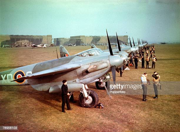 World War II England 10th February 1943 Britain's faster bombing plane The Mosquito Pilots and Mosquitos of No 139 Squadron prepare for takoff at...