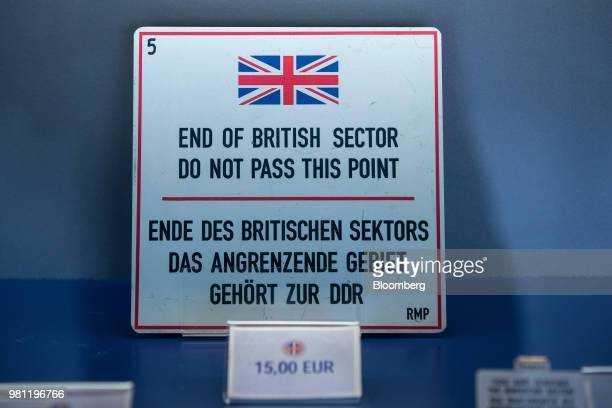 A World War II era sign reading 'End Of British Sector Do Not Pass This Point' sits for sale in the gift shop at the Allied Museum in Berlin Germany...
