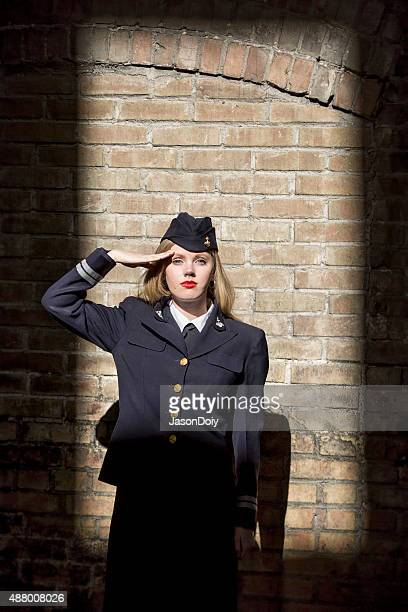 World War II Female Navy Seaman Saluting