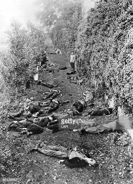 World War II French franc tireurs and partisans from Valmy's regiment massacred on September 8 by the Russian soldiers of the German army in Autun in...