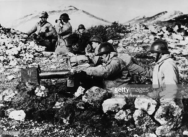 World War Ii French Soldiers Reloading A Machine Gun At Esperia In Italy On 1944