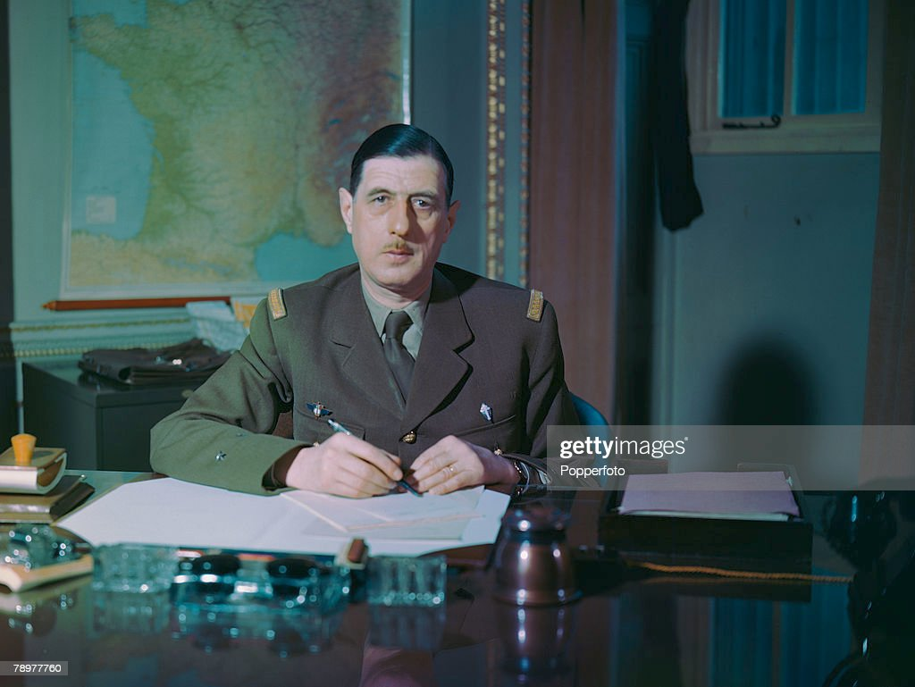 World War II. 1943. French statesman and General Charles de Gaulle photographed at the Free French H.Q. at Carlton Gardens, London. : News Photo