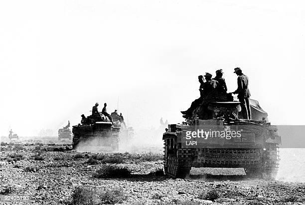 World War II Front of North Africa German Panzer III tanks near Derna February 1942