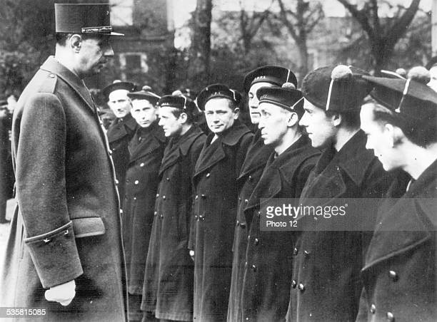 World War II General de Gaulle inspecting the 'free French navy'  Great Britain 1941