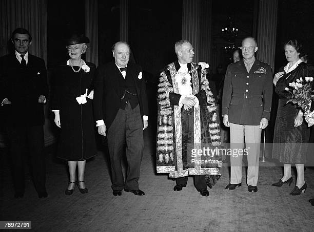 World War II General Eisenhower visits the Mansion House to meet with Winston Churchill and Mrs Churchill Also present the Lord Mayor and Lady...