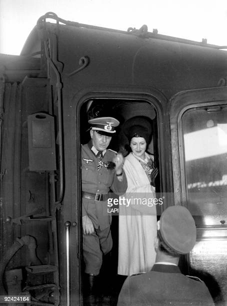 World War II General Puaud leader of the Legion of French Volunteers with his wife leaving for the Eastern front Paris April 1944