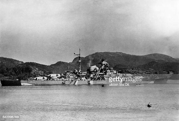 World War II German battleship 'Bismarck' in Norwegian waters date unkonwn c194041