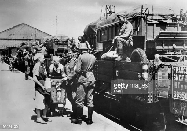 World War II German infantrymen at the gare d'Austerlitz Paris 1940
