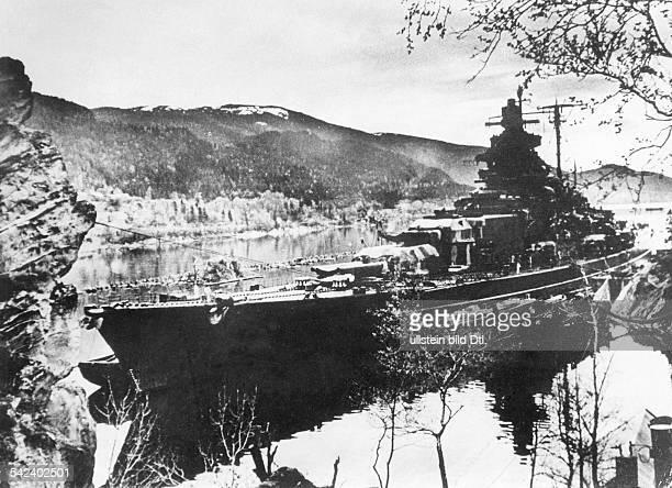 World War II German Kriegsmarine Battleship TIRPITZ camouflaged in Faettenfjord part of the larger Asenfjord in Trondheimsfjorden in Norway 19421943