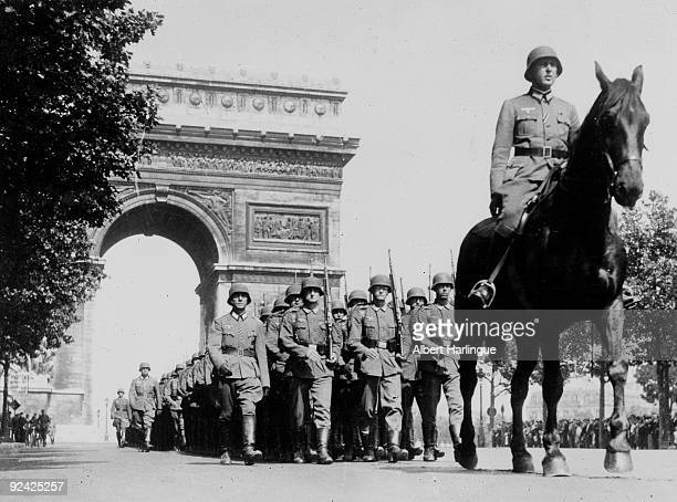 World War II German parade on the ChampsElysées Paris during the Occupation