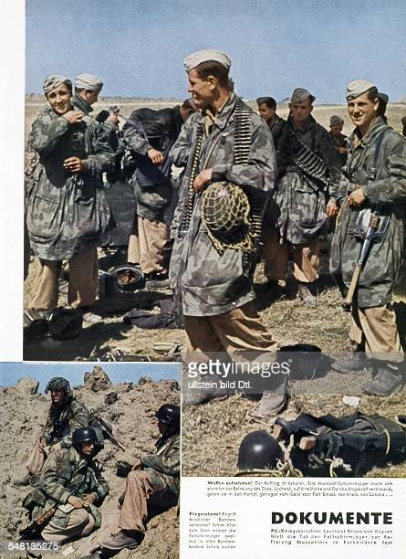 World War II German paratroopers getting ready to free Benito Mussolini bottom picture they are seeking shelter in a bomb crater from an air raid...
