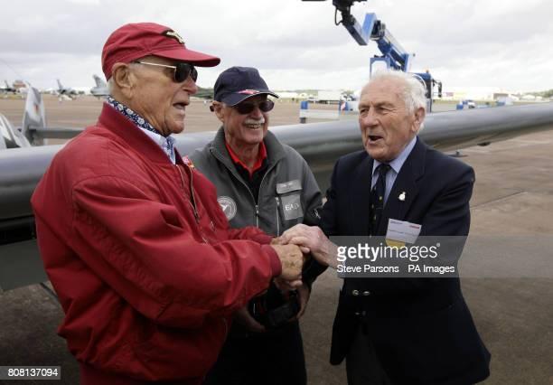 World War II german pilot Major Hans-Ekkehard Bob meets Sqn Leader Tony Pickering as pilots from both sides meet at the Royal International Air...