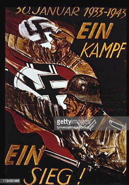 World War II: German poster marking 10th anniversary of Nazi seizure of power in 1933. German soldiers with swastika flags, arms raised in Nazi...