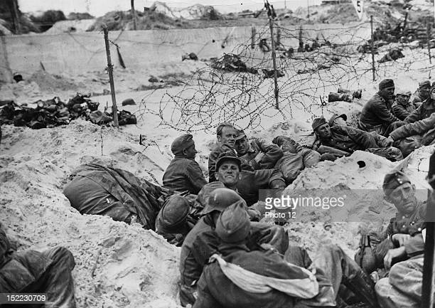 World War II German prisoners on the beaches of Normandy during the first hours of the Normandy landings June 6 1944