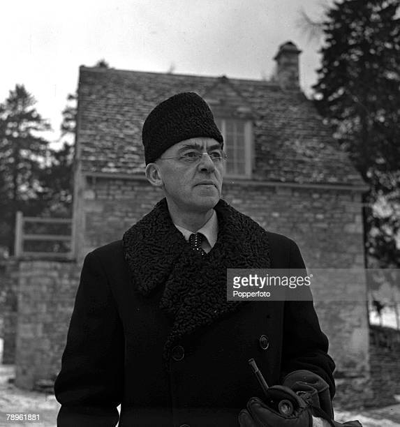 World War II Gloucestershire England A portrait of Sir Stafford Cripps wearing a Russian cossack hat at his Oakridge home Cripps was a Labour...