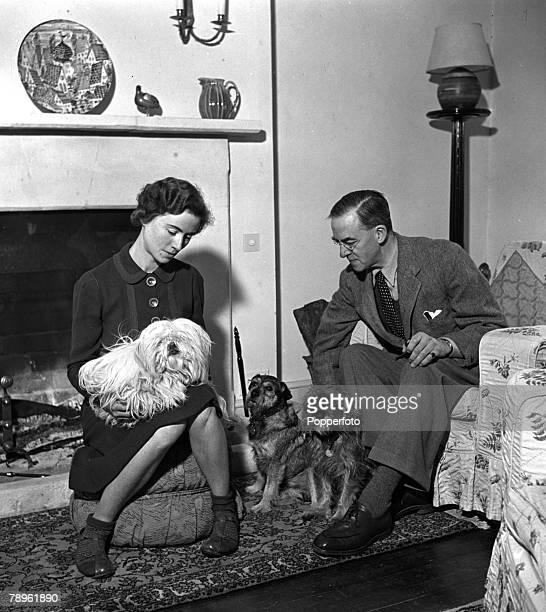 World War II Gloucestershire England Sir Stafford Cripps and Lady Cripps are pictured at home at Frith Farm Oakridge Cripps was a Labour politician...