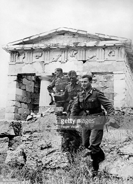 World War II. Greece during the German occupation. German soldiers in Delphi, June, 1941.