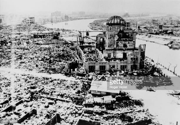 World War II Hiroshima after the atomic bomb of August 6 1945 Centre ' the atomic dome' formerly House for local industrial promotion seen from the...