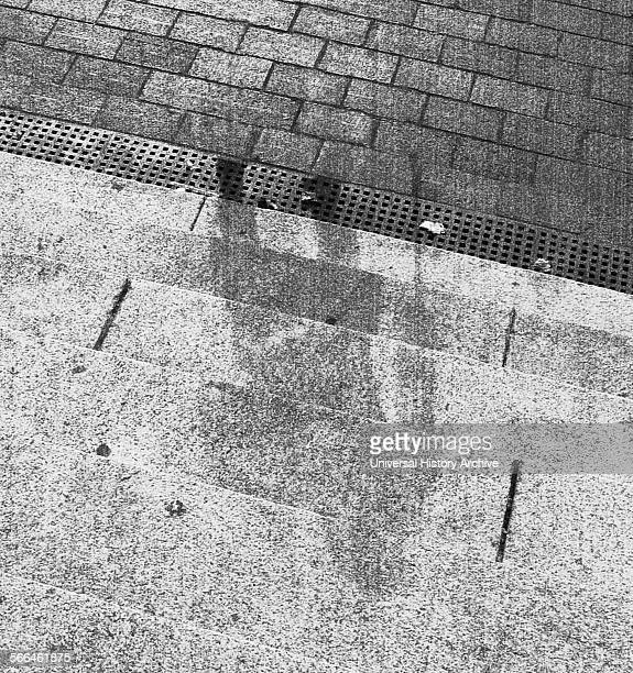 World War II Human shadow on bank steps in Hiroshima after the explosion of the atom bomb in August 1945 Japan