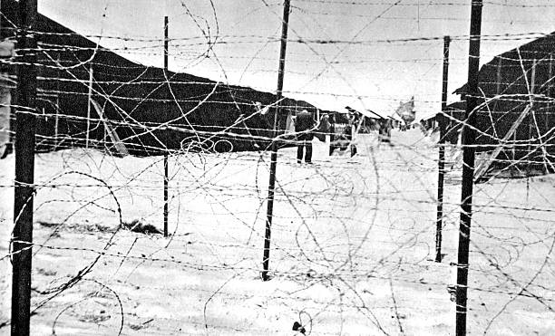 Italians in concentration camps in France and the camp barracks ...