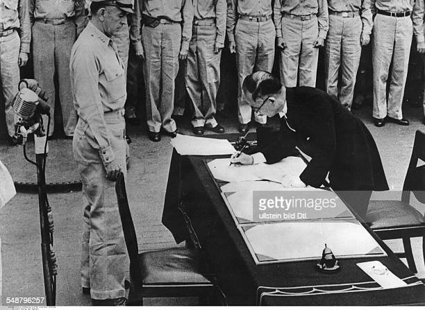 World War II in the Pacific Japanese Surrender aboard the USS Missouri in Tokyo Bay, September 2, 1945; the Japanese foreign minister Mamoru...