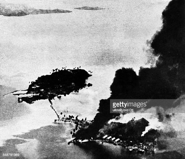 World War II in the Pacific the Battle of Guadalcanal US navy aircrafts attacking Japanese bases near Guadalcanal on the island of Tanambogo 1942...