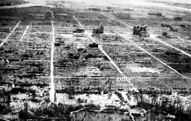 World War II Japan A picture of the town of Hiroshima after it had been effectively flattened and devastated on the 6th August 1945 by the first...