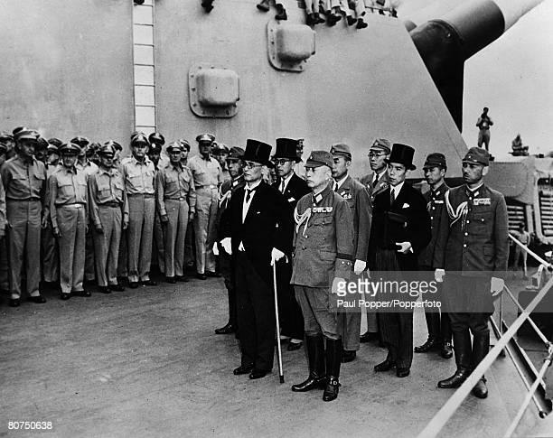 World War II, Japanese Surrender, Tokyo Bay, 2nd September 1945. The Japanese delegation with front, L-R: Mamoru Shigemitsu, Foreign Minister,...