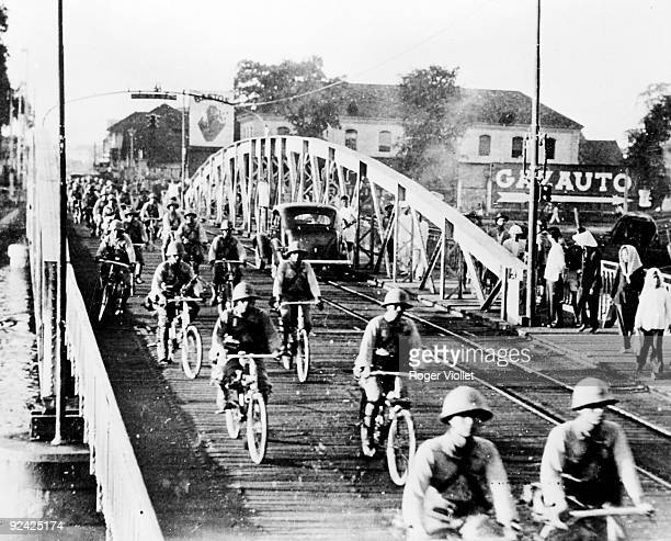 World War II Japanese troops entering Saigon on September 15 1941
