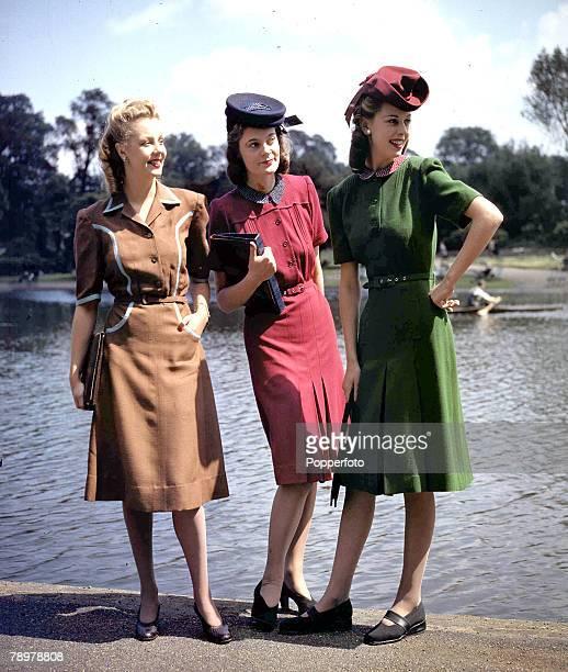 World War II, June 1943, Three models sporting Berketrex Utility wartime Fashions designed by Norman Hartnell