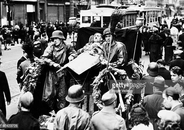 World War II Liberation of Brussels Enactment of Adolf Hitler's funeral September 1944