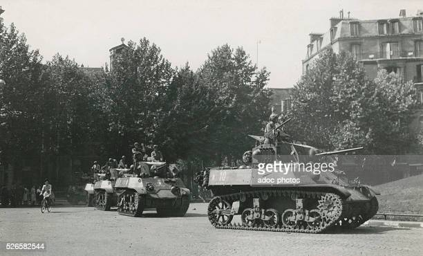 World War II. Liberation of Paris. Division Leclerc tanks, Place Victor Hugo in Paris . On August 26, 1944.