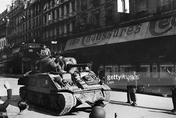 World War II Liberation of Paris Tank of the 2nd DB rue de Rivoli up by the place de l'HoteldeVille August 1944