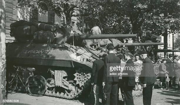 World War II. Liberation of Paris. The Division Leclerc near Place de l'Etoile in Paris . Ca. August 26, 1944.
