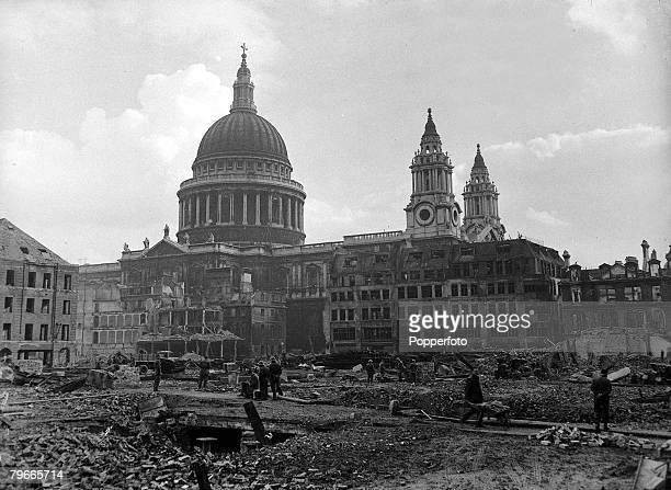 World War II London England St Pauls Cathederal stands defiantly as it is surrounded by rubble and damage caused by concerted German bombing raids