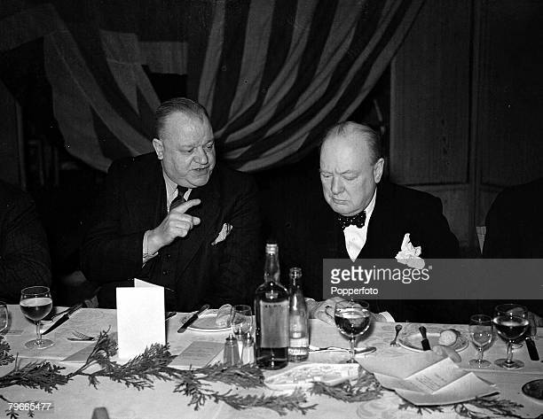 World War II March 1941 London England The Prime Minister Mr Winston Churchill chats with Mr George Gibson joint Chairman of the Trade Union Council...