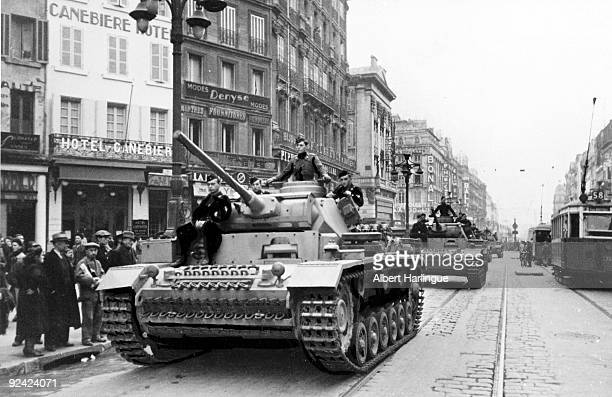 World War II Marseilles during the Occupation German PzKpfw IV tanks on the Canebière